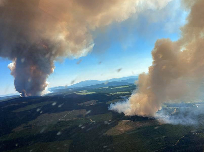 Wildfires in Graystokes Provincial Park, east of Kelowna, downsized but still out of control